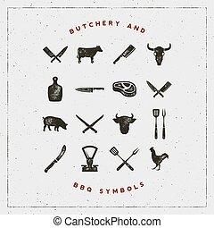 jogo, letterpress, effect., butchery, ilustração, símbolos, ...