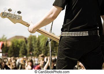 jogo, ligado, guitarra