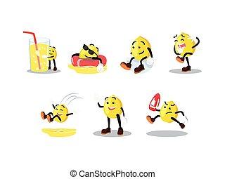 jogo, limão, caricatura, homem