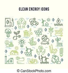 jogo, linear, ícones, energy., tema, limpo