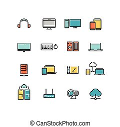 jogo, linear, ícones escritório, pessoal, multimedia, appliances., vetorial, eletrônica lar, devices., cor