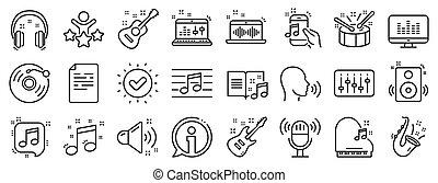 jogo, linha, vetorial, record., vinil, música, icons., guitarra acústica, nota, musical