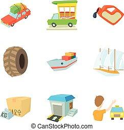jogo, locomotion, estilo, caricatura, ícones