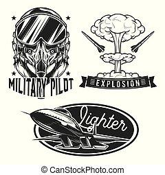 jogo, logos., etiquetas, emblemas, aviação, emblemas