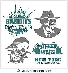 jogo, logos., etiquetas, emblemas, bandidos, gangser, emblemas