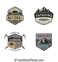 jogo, logos., logotipos, expedição, etiquetas, concepts., montanha, remendos, acampamento, designs., viagem, isolado, retro, desenhado, branca, emblema, estoque, mão, logotypes, fundo, collection., acampamento, vetorial, vindima