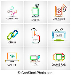 jogo, logotipos, ícones negócio, companhia, vário