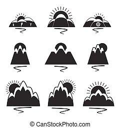 jogo, logotipos, montanhas