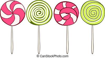 jogo, lollipops, coloridos, mão, vetorial, desenhado, style.