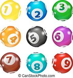 jogo, loteria, colorido, bolas, número