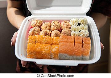 jogo, low-calorie, saudável, sushi, alimento., millennials, alimento, boxe