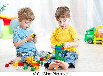 jogo, lugar crianças, creche, crianças