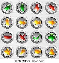 jogo, luz, cinzento, aço escovado, botões