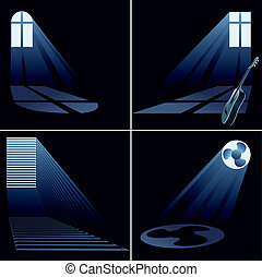 jogo, luz, dentro, -, janela, vigas