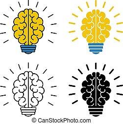 jogo, luz, ilustração, cérebro, vetorial, icons., bulbo