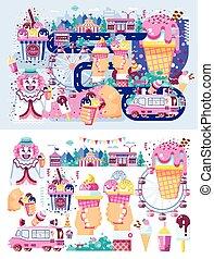 jogo, máquina, café, divertimento, creme, diferente, gelo, apartamento, vender, tipos, negócio, alimento, parque, estilo, ilustração, chocolate, doces, fruta, baunilha, venda, palhaço, enchimento, vetorial, rodas, refeição, estrada