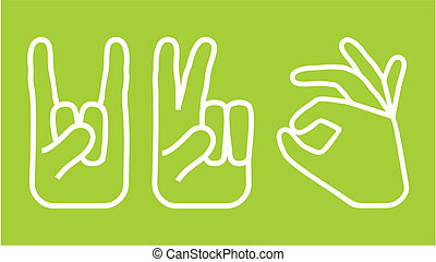 jogo, mão, ícones