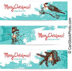 jogo, mão, banners., ilustrações, desenhado, natal