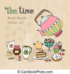 jogo, mão, elementos, desenho, desenhado, teatime