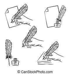 jogo, mão, vetorial, cinco, segurando, ilustrações, caneta pena