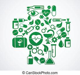 jogo, médico, crucifixos, saúde, branca, ícone