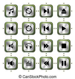 jogo, música, ícones