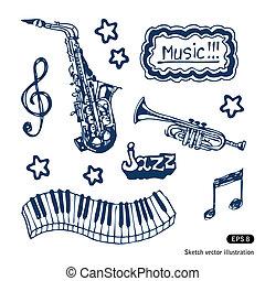 jogo, música, elementos