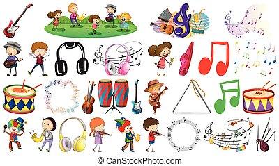 jogo, música, objeto