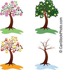 jogo, maçã, árvores