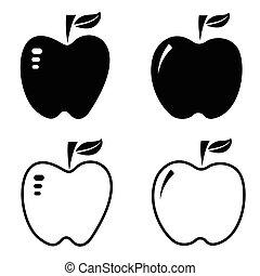 jogo, maçã, ícone