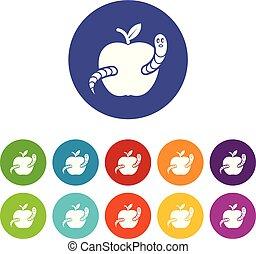 jogo, maçã, ícones, cor, verme, vetorial