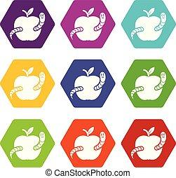 jogo, maçã, ícones, verme, vetorial, 9