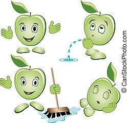 jogo, maçã, caricatura