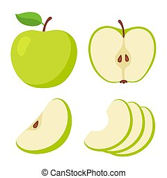 jogo, maçã verde, caricatura
