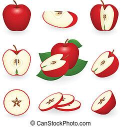 jogo, maçã, vermelho, ícone