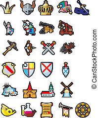 jogo, medieval, ícones