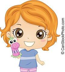 jogo, meia, ilustração, fantoche mão, menina, criança