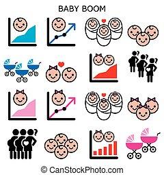 jogo, meninas, boomer, bebê, -, geração, aumento, fertilidade, taxas, ícones, meninos, crescimento, vetorial