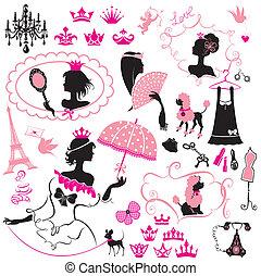 jogo, meninas, fairytale, -, silhuetas, coroas, acessórios, animais estimação, princesa