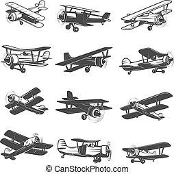 jogo, mercado de zurique, vindima, aviões, icons., aeronave, desenho, illustrations.