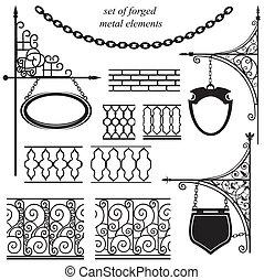 jogo, metal, forjado, elementos