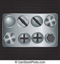 jogo, metal, parafusos, ilustração