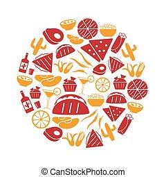 jogo, mexicano, ícones, alimento, simples, tema, eps10, círculo