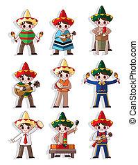 jogo, mexicano, faixa, música, caricatura, ícone