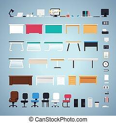 jogo, mobília escritório