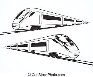 jogo, modernos, alto, silhuetas, trem, velocidade