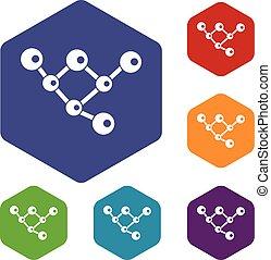 jogo, molécula, estrutura, ícones