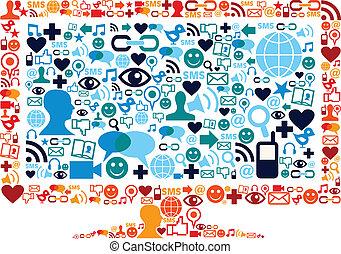 jogo, monitor, ícones, mídia, símbolo, widescreen, textura