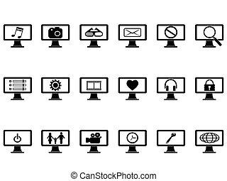 jogo, monitor computador, ícones