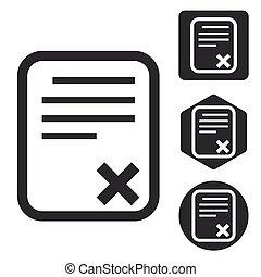 jogo, monocromático, documento, declinado, ícone